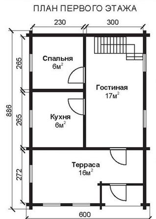 Проект КД-8 Каркасный дом 6х7