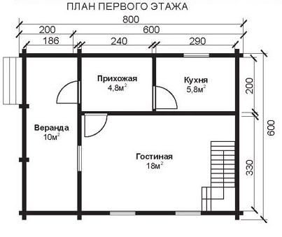 Проект КД-16 Каркасный дом 6х8