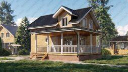 Дом из бруса 6 на 9 с эркером и террасой