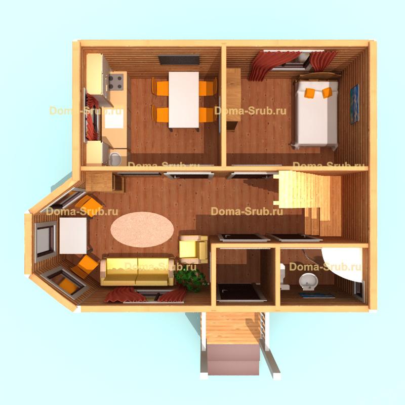 Проект ДБ-3 Дом из бруса 6х7
