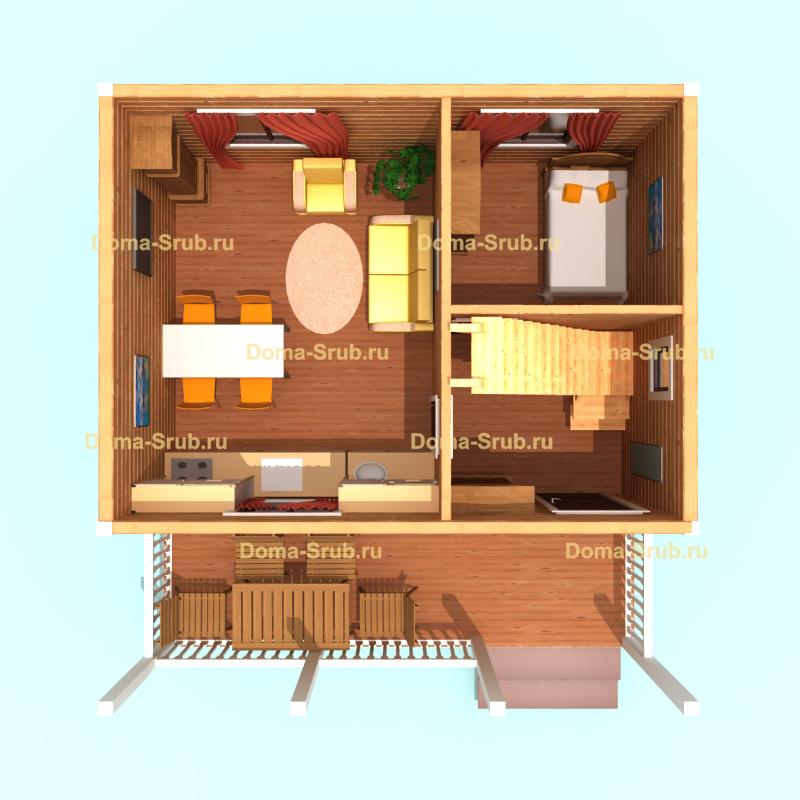 Проект ДБ-1 Дом из бруса 6х7