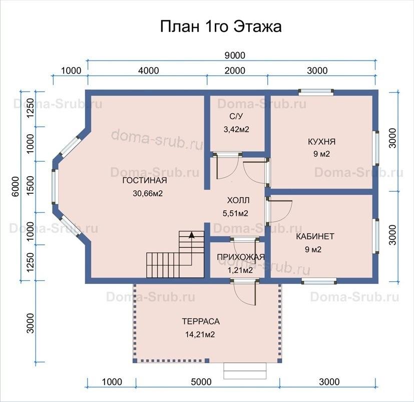 Дом по проекту ДБ-2 из обрезного бруса