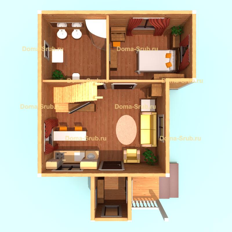 Проект ДБ-5 Дом из бруса 6х9
