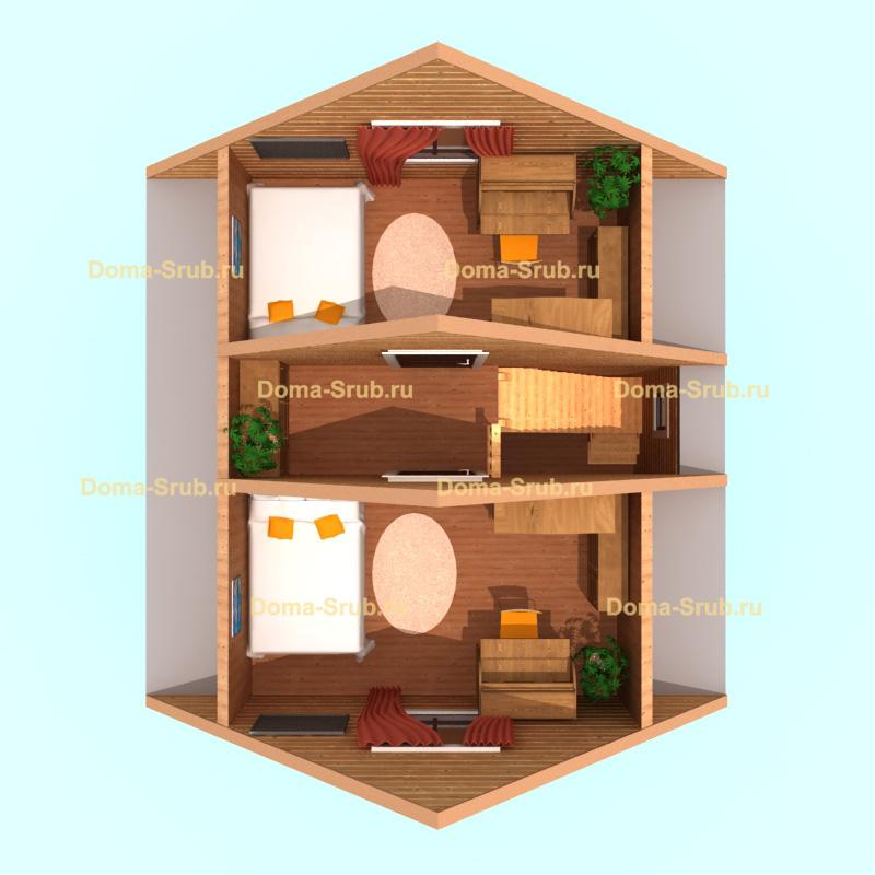 Проект КД-26 Каркасный дом 6х7