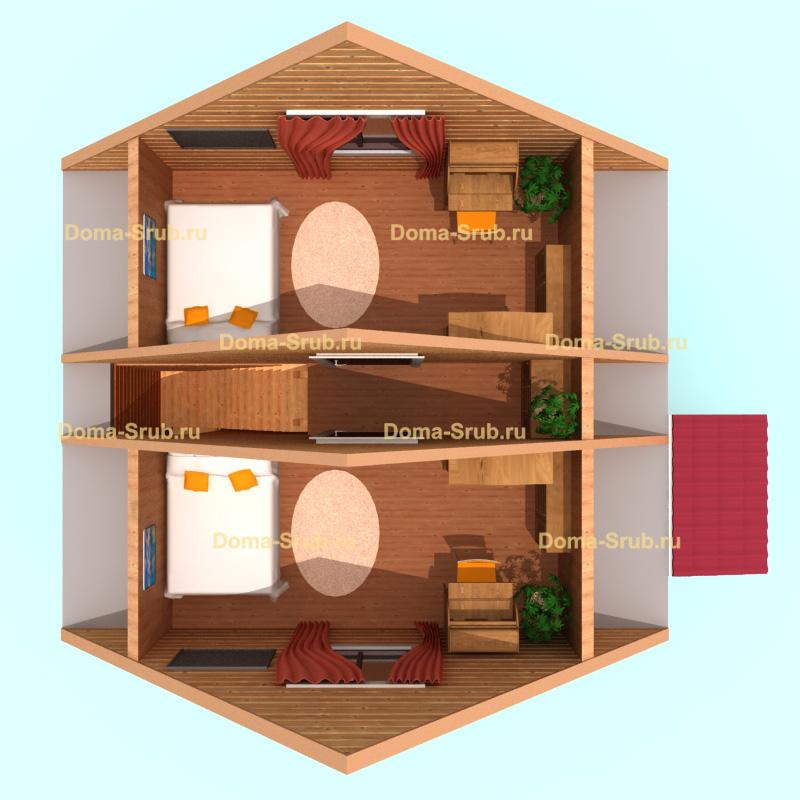 Проект ДБ-2 Дом из бруса 6х6