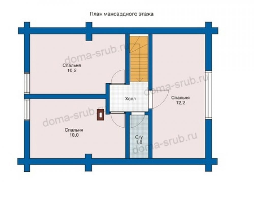 Проект СД-2 Дом из бревна 8х5,5