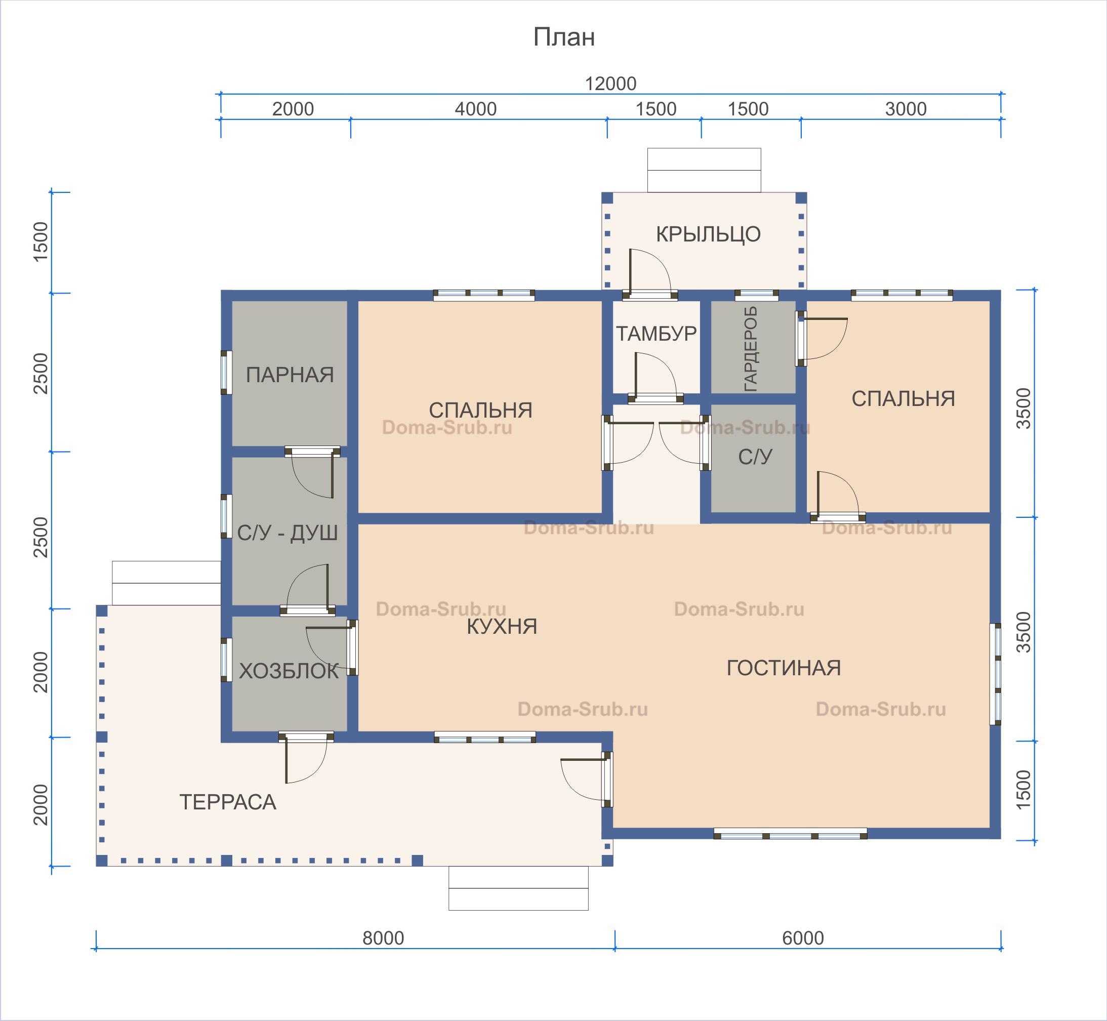 Проект ДБ-120 Дом из бруса 8х12