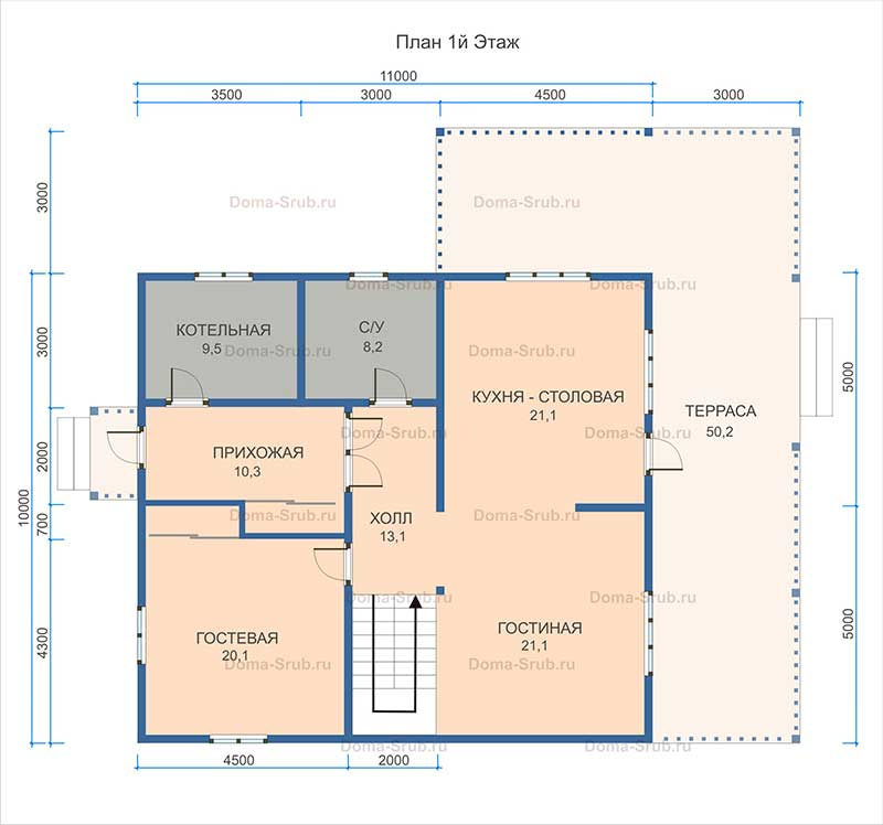 Проект ДБ-30 Дом из бруса 13х13