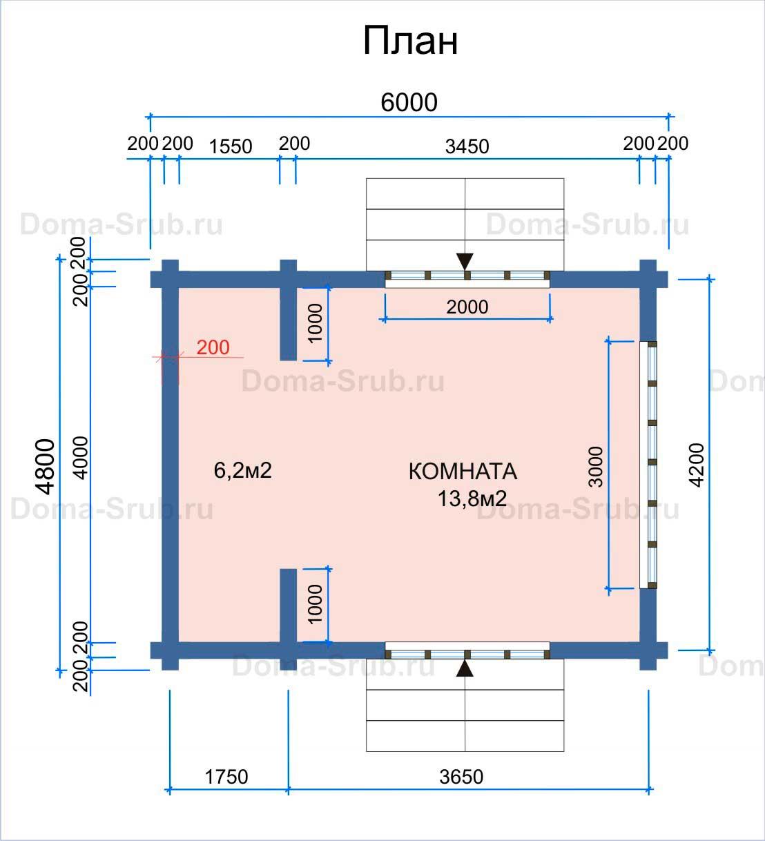 Проект ДБ-39 Дом из бруса 4.8х6