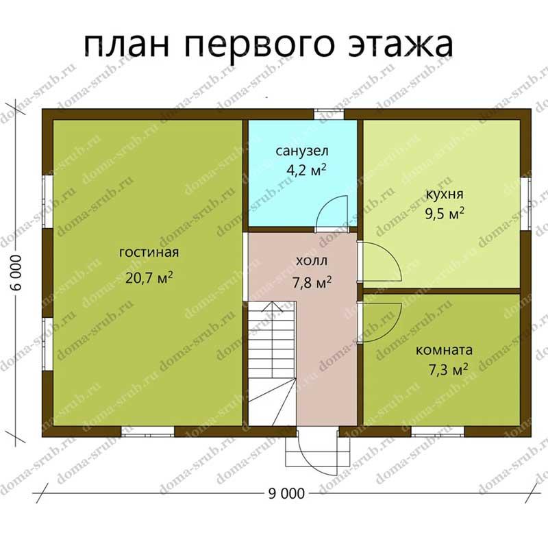 Проект ДБ-53 Дом из бруса 6х9