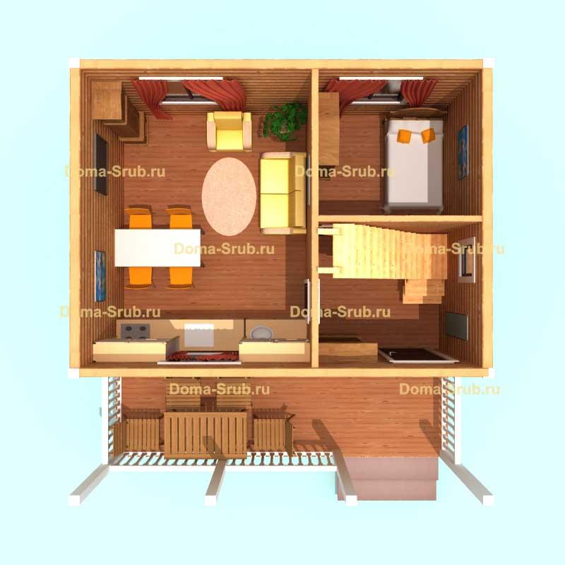 Проект КД-1 Каркасный дом 6х7