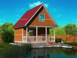 Каркасный дом полутораэтажный с террасой