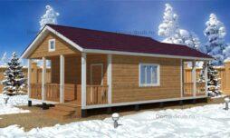 Каркасный одноэтажный дом с террасой
