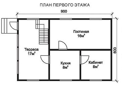 Проект КД-40 Каркасный дом 6х9