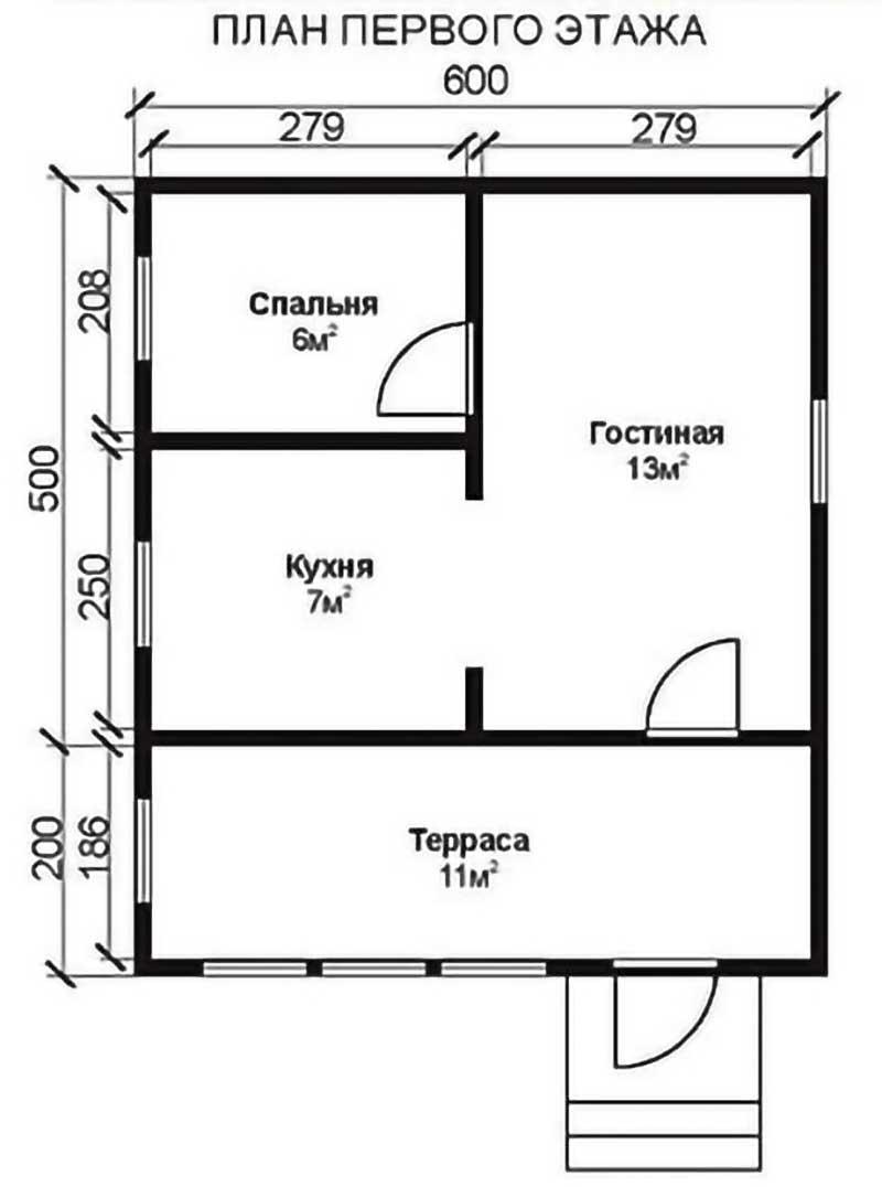 Проект КД-25 Каркасный дом 6х7