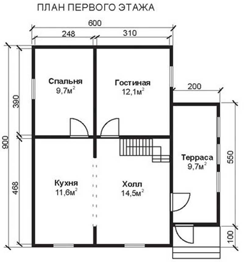 Проект КД-29 Каркасный дом 6х9