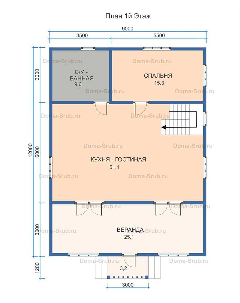 Проект КД-31 Каркасный дом 9х12