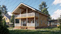 Дом из бруса 8х12 с террасой