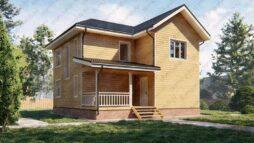 Дом из бруса 9х9 двухэтажный с террасой