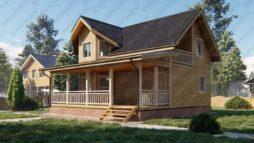 Дом из бруса 6х9 с террасой и балконом